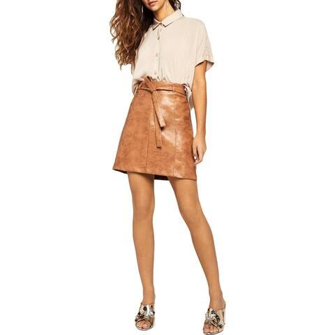 BCBGeneration Womens Mini Skirt Faux Leather Tie Waist