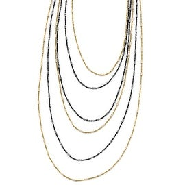 Italian Sterling Silver Gold/Black Rhodium-plated 1in ext. Necklace - 21.5 inches