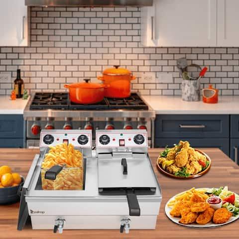 ZOKOP 12.5qt/24.9QT Stainless Steel Faucet Deep Fryer 1700W Max (8L Large Fryer Blue / Large Handle)