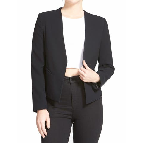 TopShop Black Womens Size 38 US 6 Molly Open Front Seamed Jacket