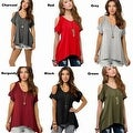 Women Casual Off the Shoulder Short Sleeve Loose Jersey Tunic Top - Thumbnail 4