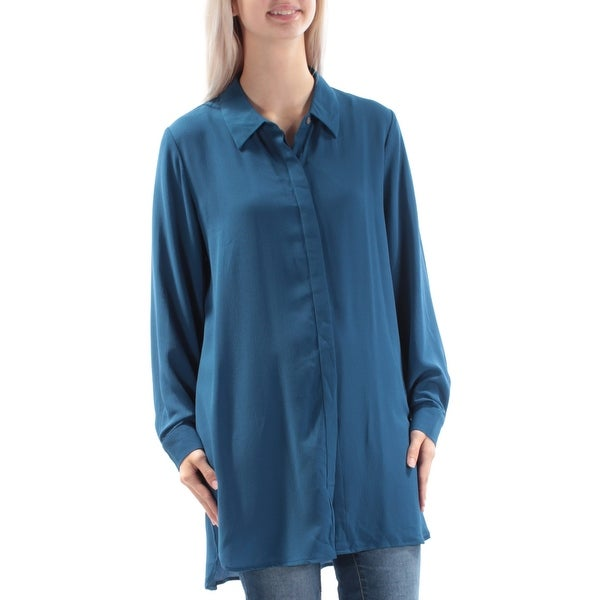 a3829ab7 Shop VINCE CAMUTO Womens Blue Cuffed Collared Button Up Top Size: S - On  Sale - Free Shipping On Orders Over $45 - Overstock.com - 21794219