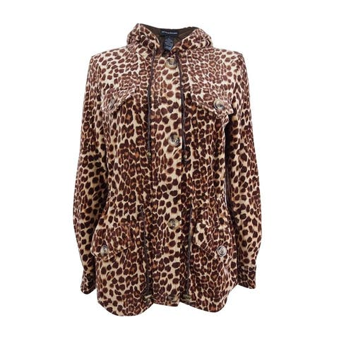 Sutton Studio Women's Fleece Leopard Anorak Jacket Petites