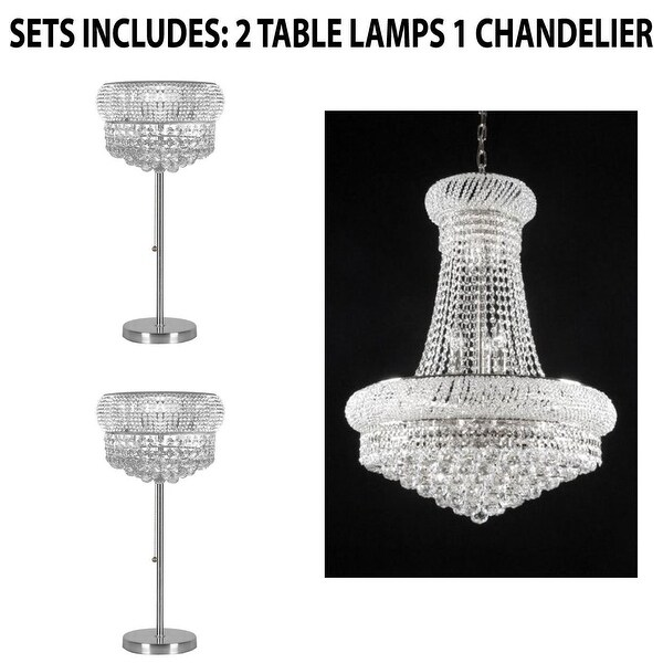 Crystal Chandelier Table Lamps For Sale: Shop Set Of 3 Crystal Halo Chandelier And Table Lamps
