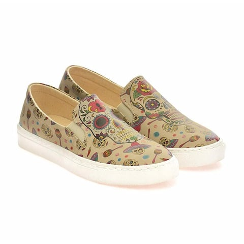 Sugar Skull Calavera Slip on Sneakers - Day of the Dead Shoes - Goby Shoes