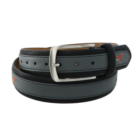 Greg Norman Men's Leather Golf Belt with Fish Overlay