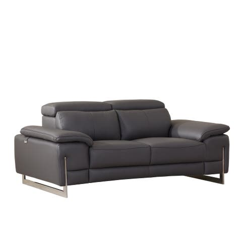 Modern Grey Leather Upholstered Living Room Loveseat
