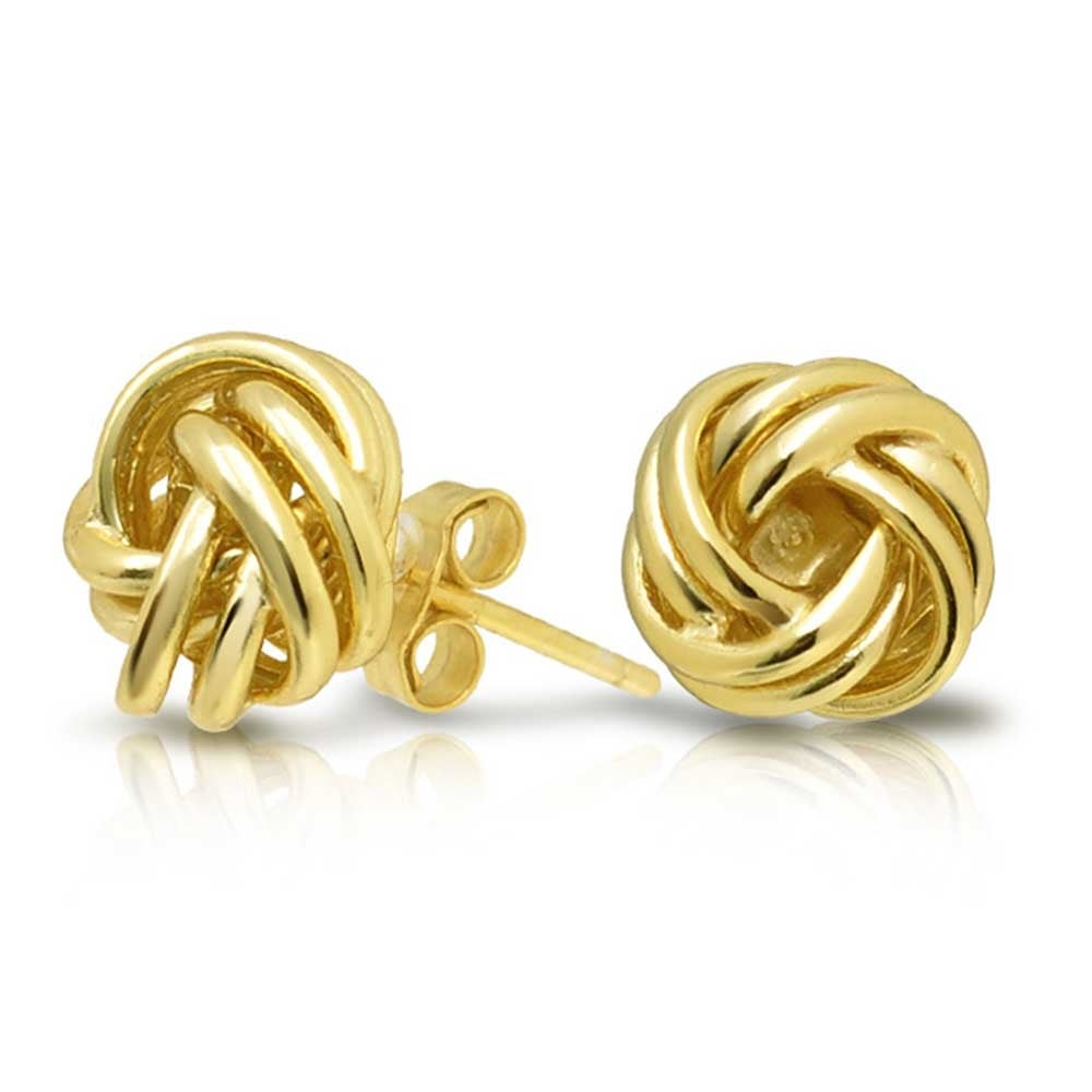 Woven Twisted Rope Love Knot Stud Earrings For Women 14k Gold Plated 925 Sterling Silver