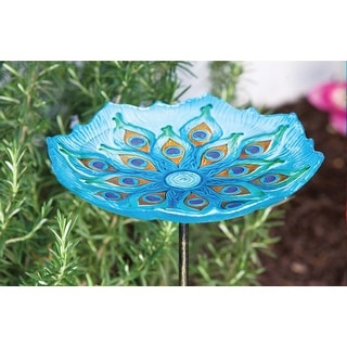 "Peacock Bird Bath with Stake - Glass - 11"" x 11"" x 26"""