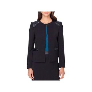 Tahari Womens Petites Blazer Studded Open Front - 4P