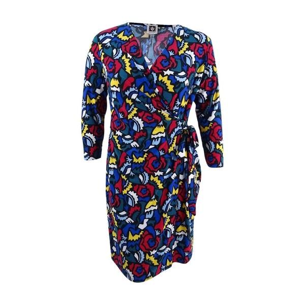 Anne Klein Women's Wrap Dress (S, Black/Canoe Multi) - Black/Canoe Multi - S