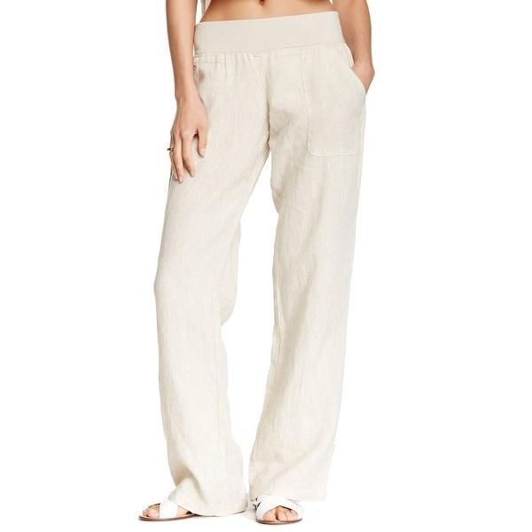 Allen Allen NEW Beige Women's Size Small S Pull-On Wide-Leg Pants
