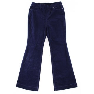 INC NEW Solid Navy Blue Women's Size 10 Flare Leg Corduroys Pants