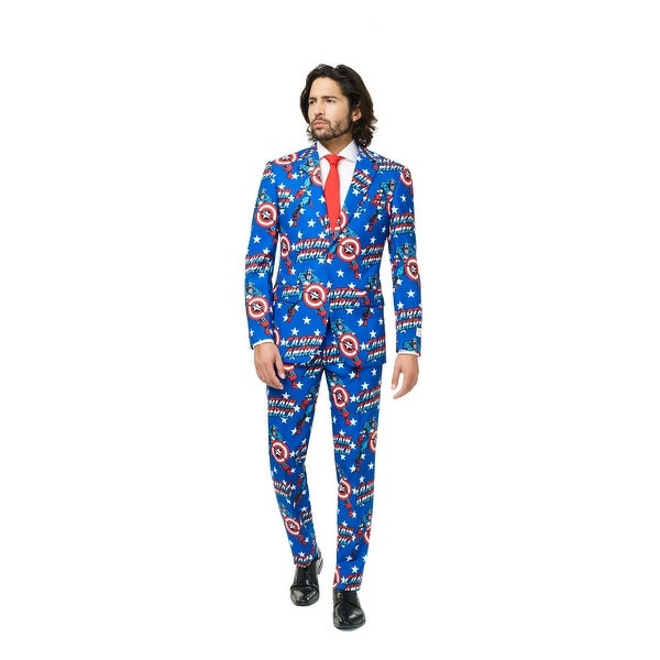 Red and Blue Captain America Men Adult Suit - Small