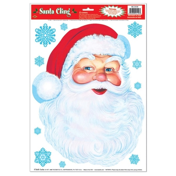 """Club Pack of 72 Santa Face and Snowflakes Window Cling Christmas Decorations 17"""" - RED"""