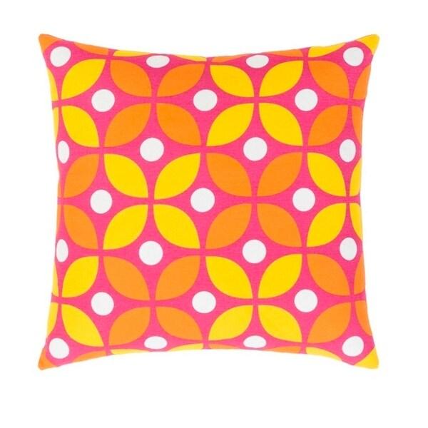 """20"""" Fuchsia, Golden Yellow, Orange and White Woven Dotted Decorative Throw Pillow"""