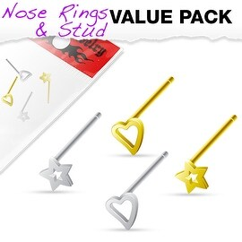 4 Pcs Value Pack of Assorted .925 Sterling Silver 3mm Bendable Nose Ring