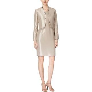 Kasper Womens Dress With Jacket Metallic Embellished