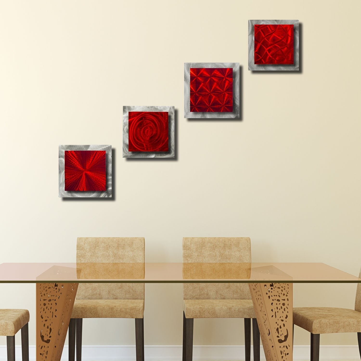 Set of 5 Red Abstract Metal Wall Art Sculpture Decor Accents by Jon Allen