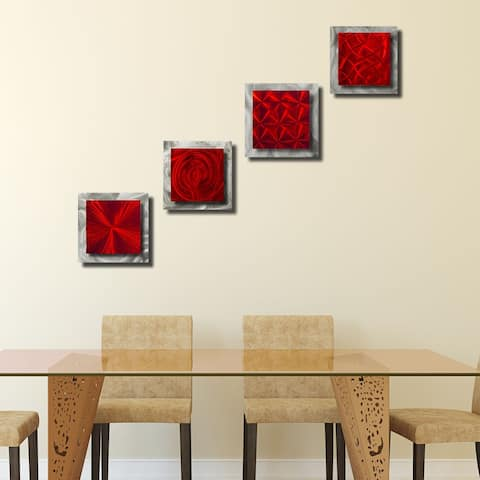 Statements2000 Metal Wall Art Accent Sculpture Red/Silver Modern Decor by Jon Allen (Set of 4) - 4 Squares Red