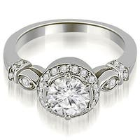 0.70 cttw. 14K White Gold Antique Round Cut Diamond Engagement Ring