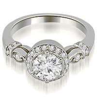 0.70 cttw. 14K White Gold Antique Round Cut Diamond Engagement Ring