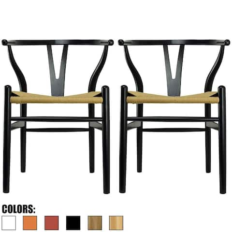 Set of 2 Black Modern Wood Dining Chair With Y Back Arm Armchair Hemp Seat For Home Restaurant Office