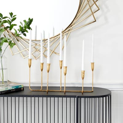 Gold Iron Contemporary Candle Holder 10 x 21 x 7 - 21 x 7 x 10