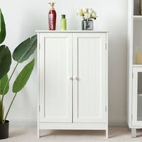 Gymax Bathroom Floor Storage Cabinet Double Door Kitchen Cupboard Shoe Cabinet White