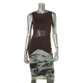 Kiind Of Womens Mesh Inset Printed Party Dress - XS