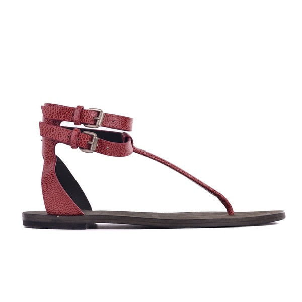 38feeba716e893 Brunello Cucinelli Women Red Micro Croc Leather Thong Sandals~Sz36 US 6~RTL