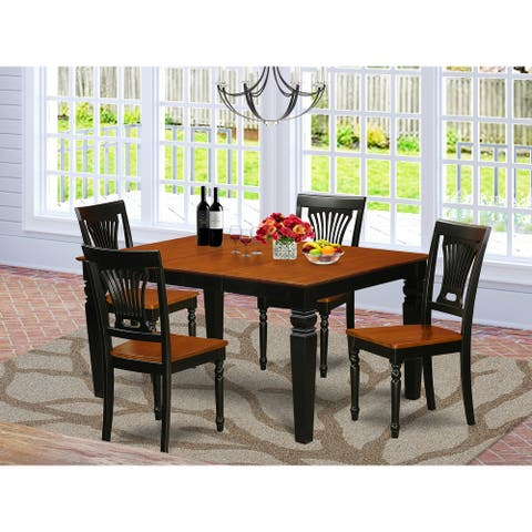 East West Furniture Dinette set - Dining Room Table and Wooden Dining Chairs - Black & Cherry Finish (Pieces Option))