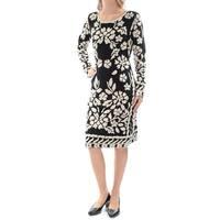 Womens Black Long Sleeve Below The Knee Sheath Casual Dress  Size:  M