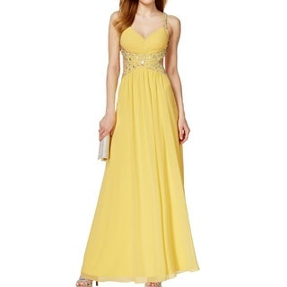 Betsy & Adam NEW Yellow Women's Size 8 Pleated Ball Gown Dress
