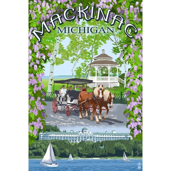 Mackinac, MI - Montage Scenes - LP Artwork (Cotton/Polyester Chef's Apron)