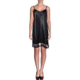 Aqua Womens Leather Lace-Trim Clubwear Dress