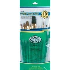 10/Pkg - Ultra Short Sable/Camel Super Value Pack Brush Set