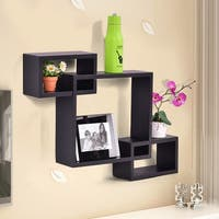 Costway Black Intersecting 3 Rect Boxe Floating Shelf Wall Mounted Home Decor Furniture