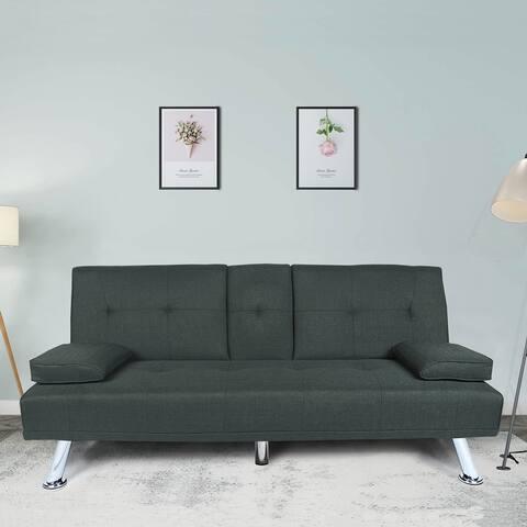 Futon Sofa Bed Sleeper Red Fabric