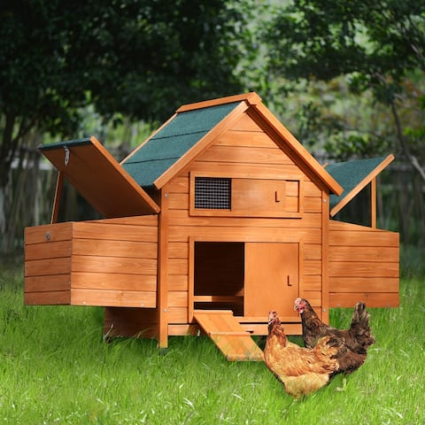 Wood Chicken Coop for 2-3 Chickens, Small Animal Cage Bunny Hutch - Medium