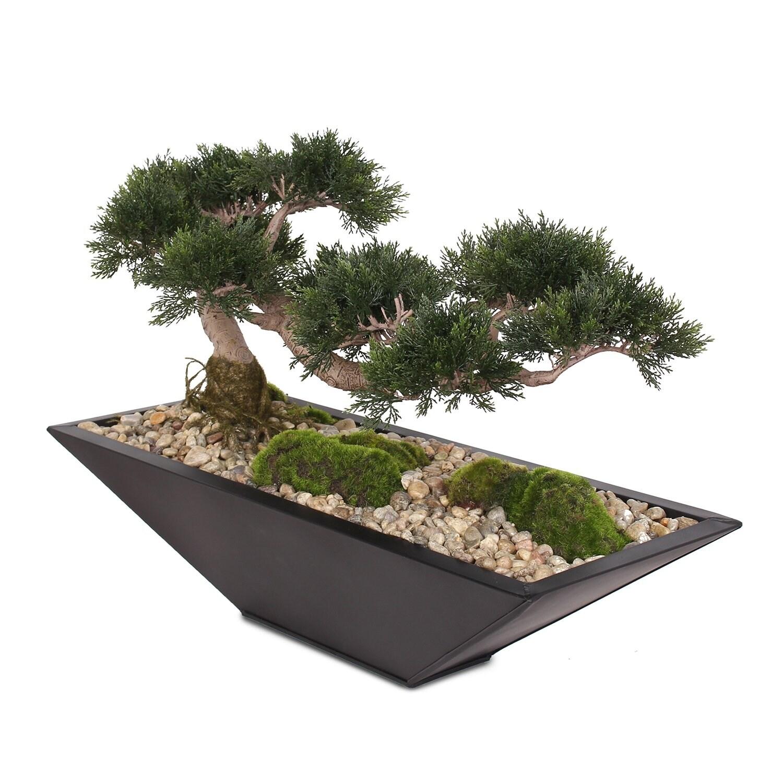 Artificial Large Cedar Bonsai Moss Natural Pebbles In Metal Zinc Pot 28w X 10d X 17h Overstock 31444982