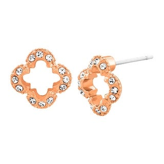 Marie Claire Clover Stud Earrings with Swarovski Crystals in 18K Rose Gold-Plated Stainless Steel - White