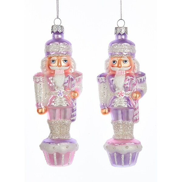 Sugar Plum Purple Nutcracker Christmas Holiday Ornaments Set Of 2 Glass