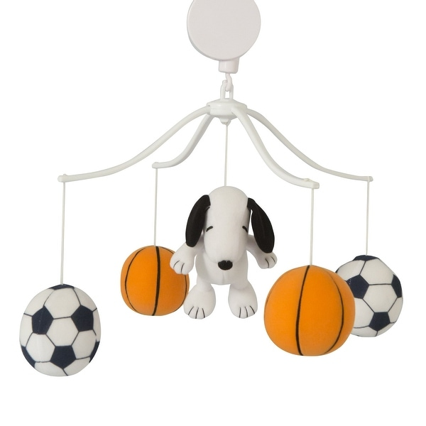 Bedtime Originals Snoopy™ Sports Black/White Basketball and Soccer Musical Baby Crib Mobile