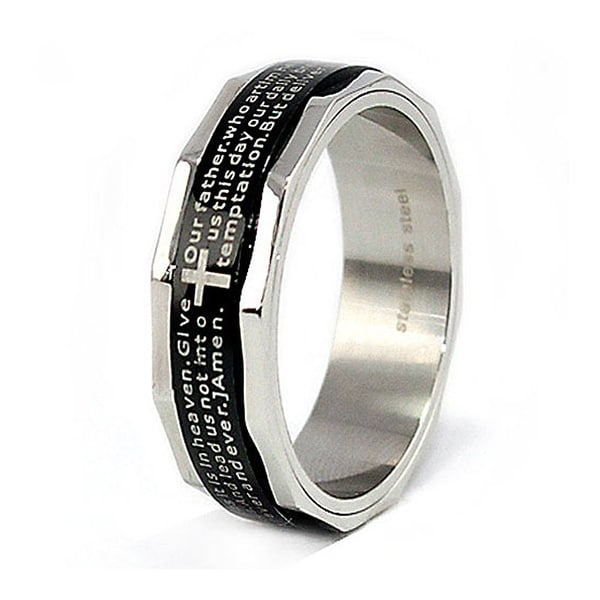 Black Plated Stainless Steel Ring with Lord's Prayer 8mm (Sizes 7-13)