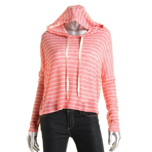 Aqua Womens Pullover Top Hooded Long Sleeves