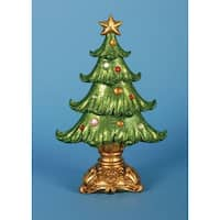 "Pack of 2 Ornate Glittered Table Top Christmas Tree Decorations 12"" - green"