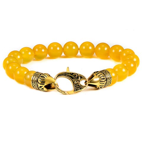 """Natural Stone Antiqued Gold Plated Steel Clasp Bracelet (10mm) - 8.25"""""""