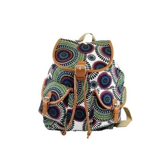Hearty Trendy Girls Navy Green Circle Print Flap Pockets Cotton Canvas Backpack