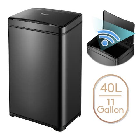 11 Gallon Automatic Trash Can Black Steel Touchless Motion Sensor Soft Close Lid 40L LED Timer Under Kitchen Island